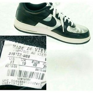 Nike Air Force 1 Black and Silver Mens Size 11
